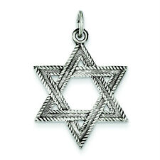 Textured Antique Silver Tone Petite Star of David Pendant Judiasm Jewish