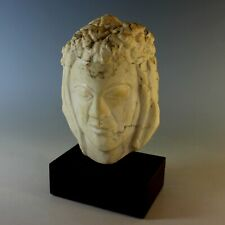Medium size Abstract Alabaster Sculpture of a Head, signed H.R Lampe