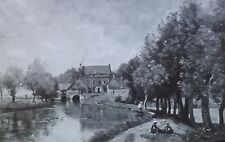 """Le Moulin"", Jean-Baptiste-Camille Corot, Magic Lantern Glass Art Slide"