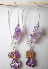 Ametrine Nuggets on long silver plated hooks drop earrings approx. 7cm