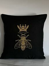 """Queen Bee Embroidered Cushion Cover BLACK 14""""x14"""""""