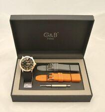Cofanetto orologio nero cassa rosata G&B Time con 2 cinturini di ricambio