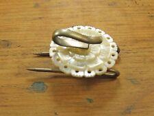 Vintage Antiguo Victoriano Madre de Perla Redonda de botón gancho de manto Broche Con Picos