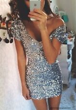 dp35 CFLB Body Con Bandage Vintage Gold Silver Red Black Sequin Mini Party Dress