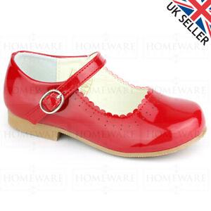 GIRLS SPANISH STYLE SHOES MARY JANE SHINY PATENT PINK WHITE NEW DESIGNER UK8-2