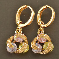 Multi Colour crystal Crystal 18K yellow Gold Filled Womens Dangle Earrings