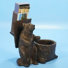Antique Swiss Black Forest Wood Carved MATCH HOLDER CIGAR PIPE TRAY Bear Brienz