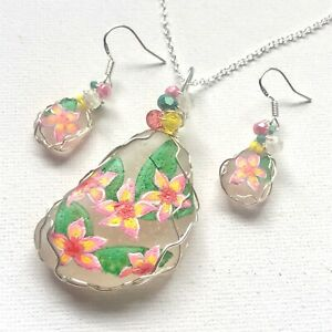 PLUMERIA flowers - Hand painted art English sea glass necklace & choose earrings