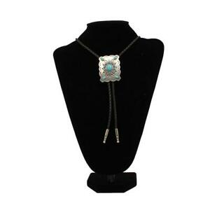 Men's Black Bolo Tie with Silver Western Concho Slide Turquoise Stone