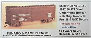 Funaro F&C HO NYC, U&D 1912 36' DS steel underframe Boxcar  Kit 6580/5120