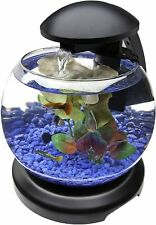 Waterfall Globe Aquarium Kit 1.8Gal Glass Bowl LED Desk Display Small Fish Tank