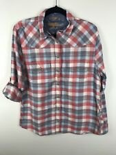 Jachs Girlfriend Womens BEA Blue White Plaid Flannel Button Front Shirt Sz M