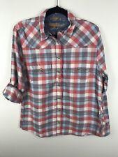 Jachs Girlfriend Womens BEA Blue Coral Plaid Flannel Button Front Shirt Sz M