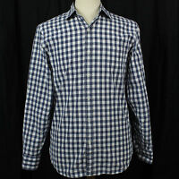J.Crew Blue White Plaid Check Long Sleeve 100% Cotton Shirt Men Sz S 14-14 1/2