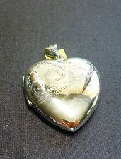 BEAUTIFUL LARGE PARTIALLY ENGRAVED STERLING SILVER HEART SHAPED LOCKET PENDANT