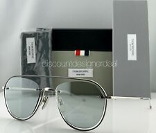 Thom Browne Aviator Sunglasses TBS112-52-01 Silver Frame Gray Flash Lens 52mm