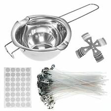 Candle Making 00006000  Kit - with Double Spouts Pot & 120 Natural Cotton Wicks