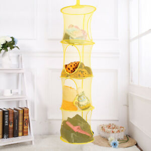 Multi-layer Net Hanging Storage Cage Cylindrical Storage Bag Home Hanging Basket