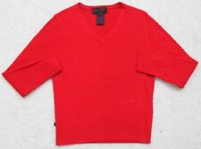 Ralph Lauren Red Girls Sweater Long Sleeve Small V-Neck Cotton Corded Youth Kids