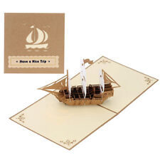Have a Nice Trip 3D Pop Up Sailing Ship Boat Greeting Card Happy Birthday Thanks