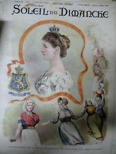 HOLLANDE PAYS BAS COURONNEMENT REINE GRAVURE JOURNAL LE SOLEIL DU DIMANCHE  1898