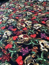 Rockabilly Skull & Roses Retro Fleece Blanket Throw Soft & Heavy NICE 68x58
