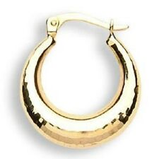 MENS SINGLE 9CT HALLMARKED YELLOW GOLD 18MM HAMMERED EFFECT CREOLE HOOP EARRING