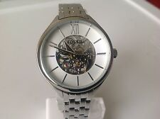 Fossil Ladies Automatic Silver Tone Stainless Steel Skeleton Dial Watch BQ3051