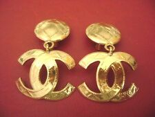 AUTH Chanel vintage CC logo dangle large size clips earrings