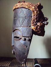 Large TSOGHO KUBA LELE HEADDRESS Raffia Mask African Carving!!