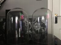 Pair Large Glass Domes
