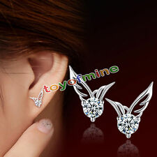 Cristal 925 Angel Wings papillon Ear Stud Silver Lady Fille Earring cadeau ED