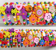 Wholesale 10pcs Kid Wood Lovely Bracelets Girl Birthday Party Gift Favor Jewelry