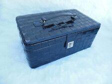 Lancome Black Make Up Travel Train Case Faux Leather Basket Weave