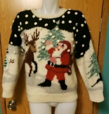 Christmas Sweater Santa Sleigh Tree Samantha Taylor Women's Size Medium