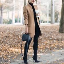 UK Womens Wool Lapel Long Coat Trench Parka Jacket Overcoat Winter Outwear Suit