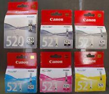 6x Genuine Canon Ink Cartridges PGI-520+CLI-521 Bk+C+M+Y+GY For MP980,MP990