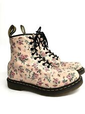Dr Martens Women's US 10 Pink Floral Leather 1480 High Top Lace Boots Air Wair