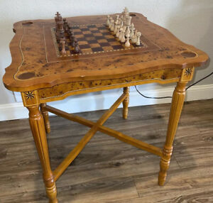 "Antique Chess Table 30"" Tall 28""X28"" With Complete Chess Pieces -See Description"