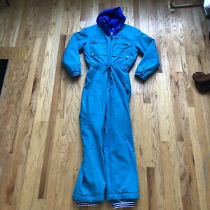 Women's Vintage 90's Skimer Teal Blue Purple Full Winter Snow Ski Suit Sz 12 VTG
