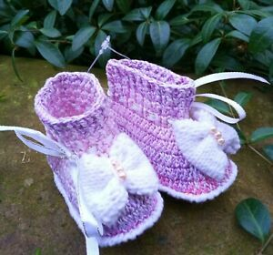 Handmade crochet purple baby booties 6-9 m Baby girl lilac shoes with bow