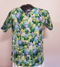 873e100242e Cottonality Nursing Scrubs Frogs Space Aliens Green Monsters Top Size 44