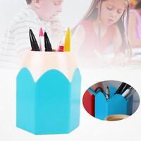 Mini Pencil Pot Holder Pen Storage Stationery Gift Cup Makeup Brush Box Blue MT