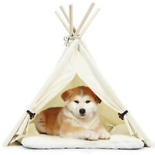 Pet Teepee Dog Puppy Cat Bed Portable Canvas Tent & House w/ Cushion Indoor