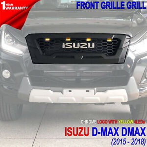 FOR ISUZU D-MAX 2016-18,FRONT BLACK GRILLE CHROME LOGO YELLOW 4LEDs ABS LUXURY