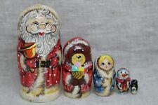 "Nesting dolls ""Santa Claus, snowgirl and bear"".Matryoshka.(4"",5 pieces inside)."