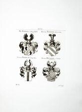 1816 Wappen Kupferstich Tyroff Adelige Fliegel Freinar Fremuth Fruewein