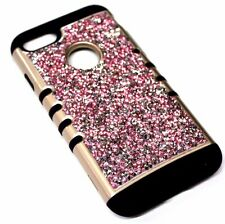 For iPhone 7 - Gold Trim Pink Silver 3D Rhinestones Bling Hybrid Armor Skin Case