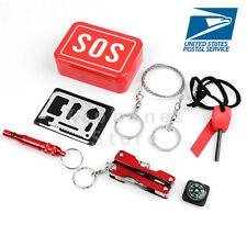 US SOS Help Outdoor Sport Camping Hiking Survival Emergency Gear Tools Box Kit