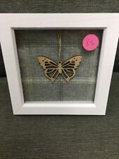 Butterfly Wood Insert Wool art framed beautifully handmade gift idea Christmas
